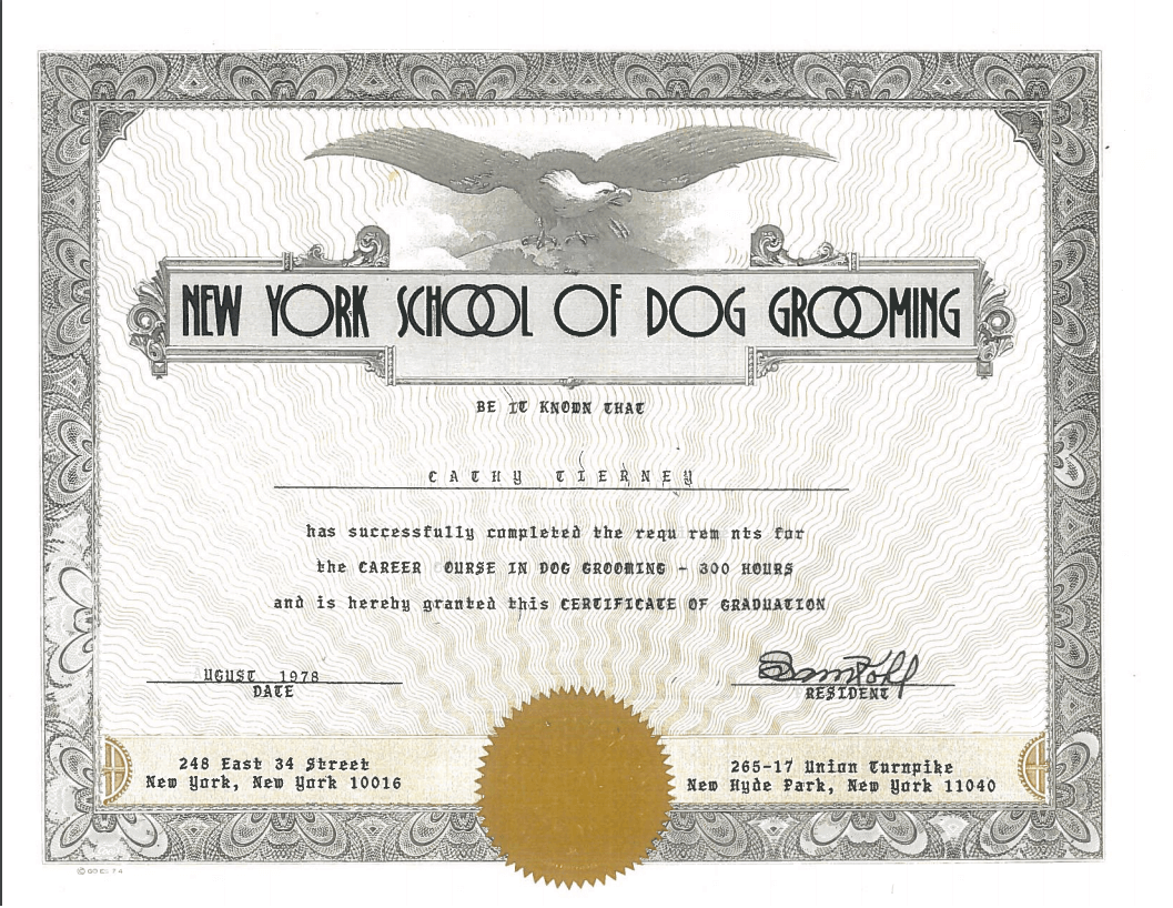 Cathy's diploma from the NY School of Dog Grooming.