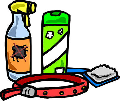 A cartoon of grooming supplies and tools