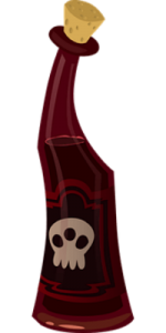 Cartoon of a red bottle with a skull