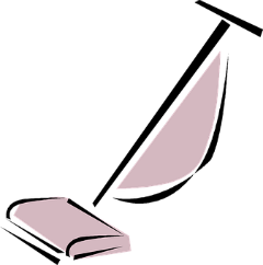 A cartoon of a pink vacuum