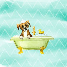 A cartoon of a dog in a tub