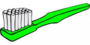 A green cartoon toothbrush